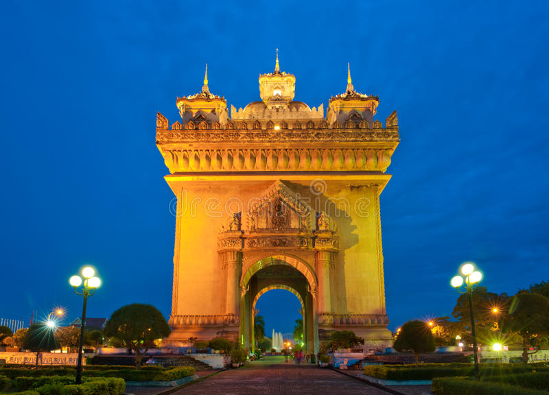 Monumento di Patuxai, Vientiane, Laos. fotografia stock libera da diritti