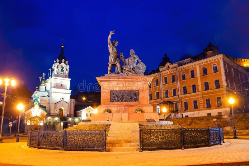Monumento di Pozharsky e di Minin in Nižnij Novgorod, Russia fotografia stock libera da diritti
