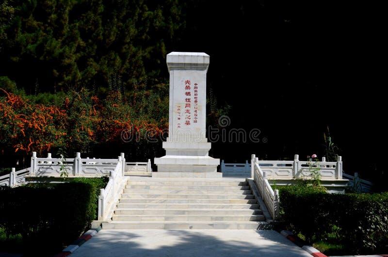 Monumento di ricordo con scrittura cinese al cimitero Gilgit Pakistan della Cina immagini stock libere da diritti