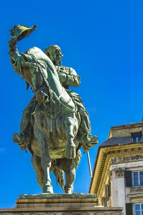 Monumento di Vittorio Emanuele II a Genova L'Italia immagini stock