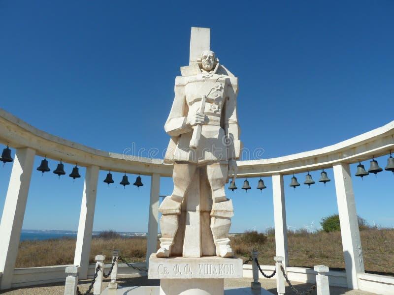 Monumento do almirante Ushakov em Bulgária imagem de stock