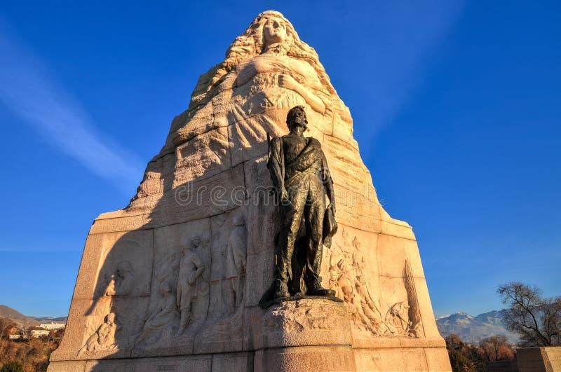 Monumento do batalhão do mórmon, Salt Lake City, Utá foto de stock