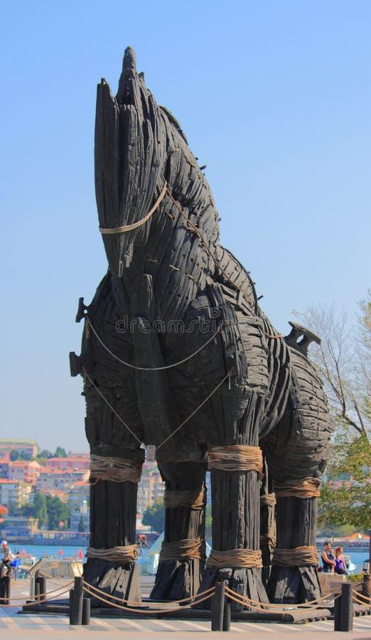 Monumento do cavalo de troia em Chanakkale fotos de stock