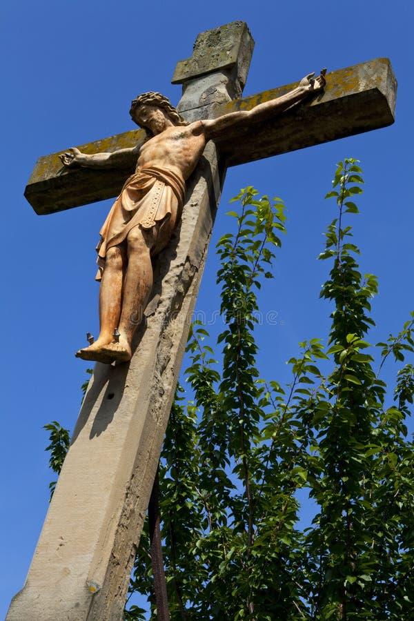 Monumento do Crucifix em Linz imagens de stock