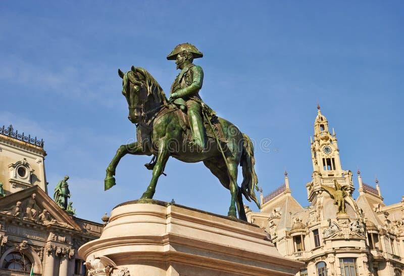 Monumento do rei Pedro IV, Porto, Portugal imagem de stock