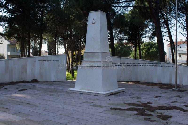 Monumento do ` s do mártir de Arıburnu em Canakkale em Turquia fotografia de stock royalty free