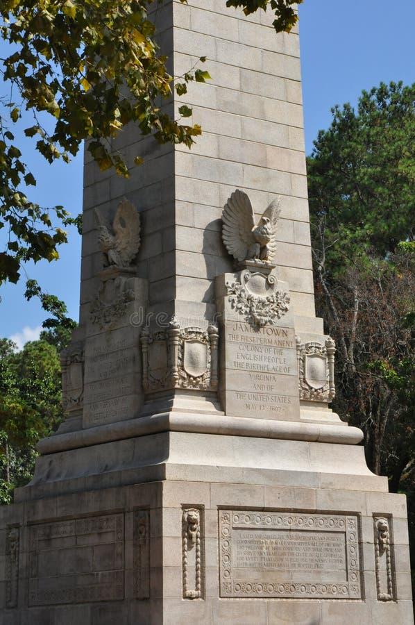 Monumento do tricentenário em Jamestown, Virgínia fotos de stock royalty free