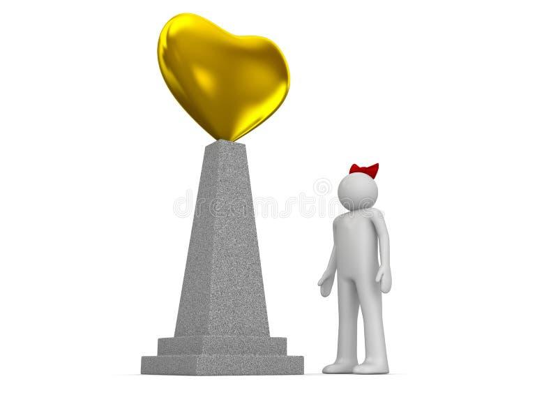Monumento dourado do coração ilustração royalty free