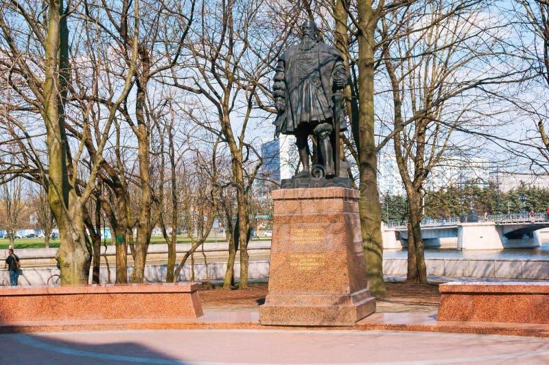 Monumento a Duke Albrecht, estátua do duque de Prússia, catedral, Albrecht Brandenburg fotos de stock