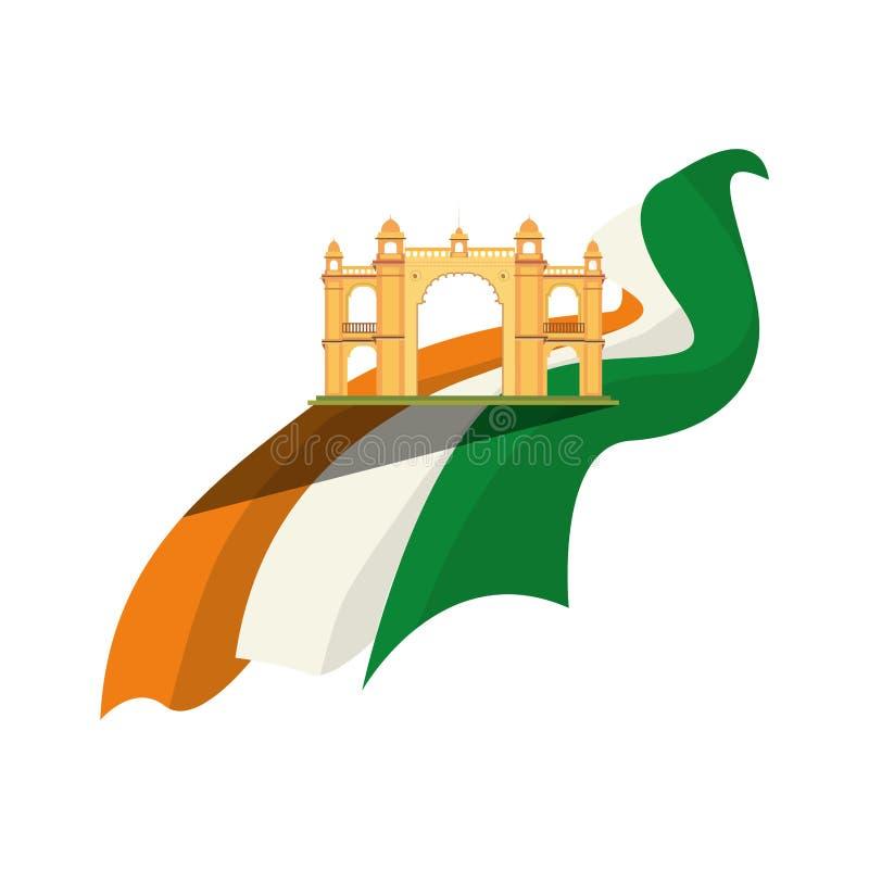 Monumento e bandeira de india da entrada de Mumbai ilustração royalty free