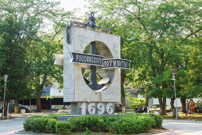 Monumento em honra do tricentenário da frota com a inscrição imagem de stock
