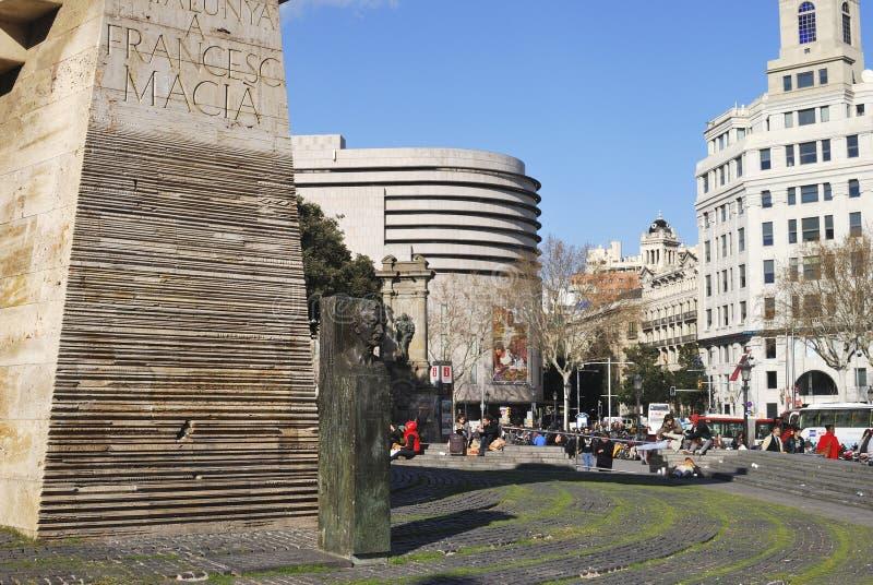Monumento em Placa de Catalunya. Barcelona. Espanha fotos de stock
