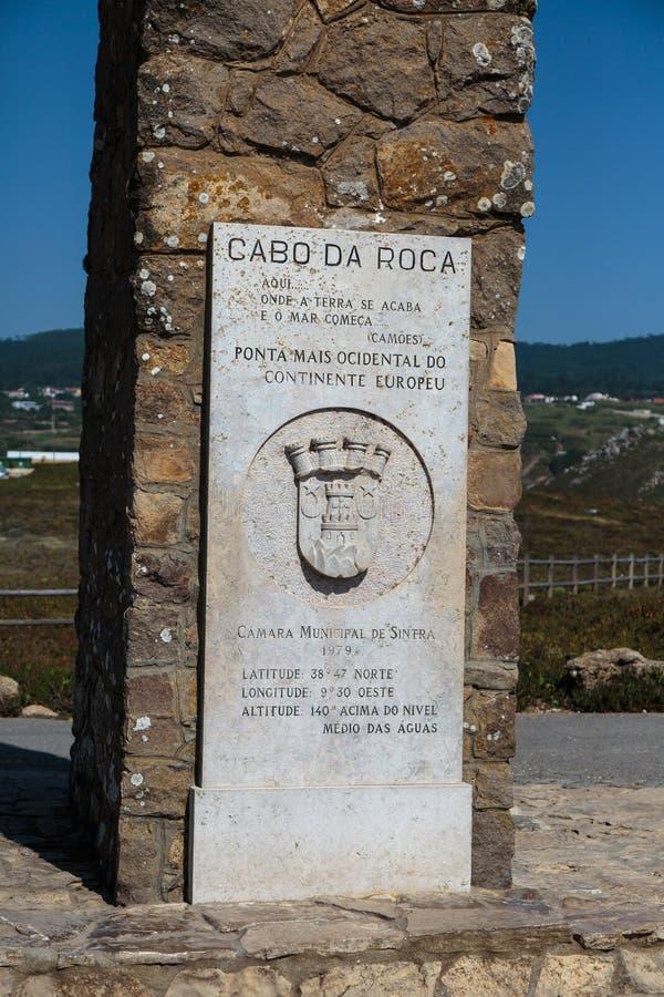 Monumento en Cabo DA Roca, punto occidental de Europa - Portugal imágenes de archivo libres de regalías