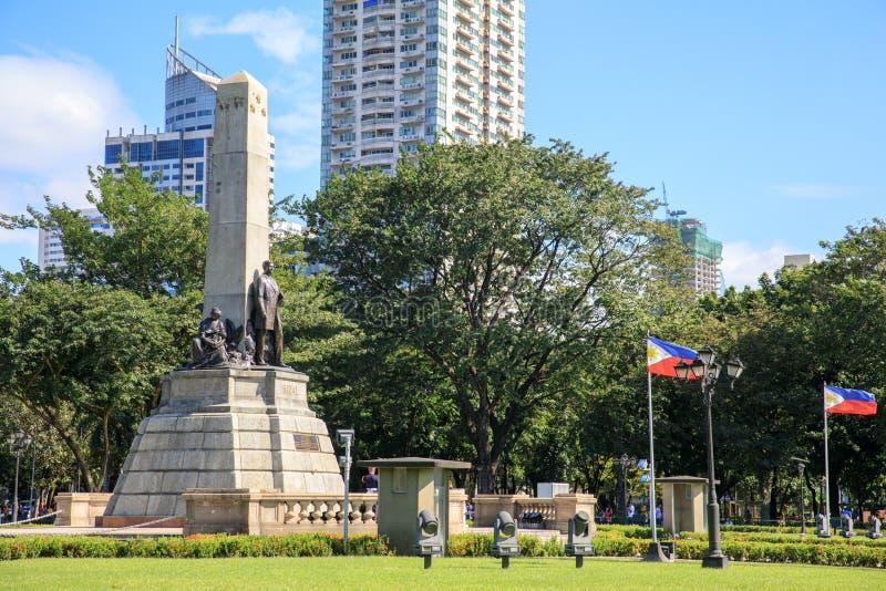 Monumento en memoria de Jose Rizal en el parque de Rizal imagen de archivo libre de regalías