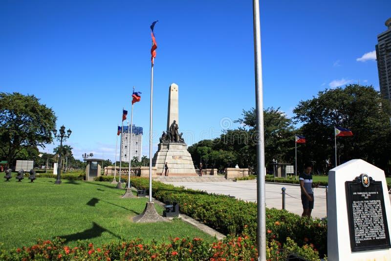 Monumento en memoria de Jose Rizal en el parque de Rizal foto de archivo libre de regalías