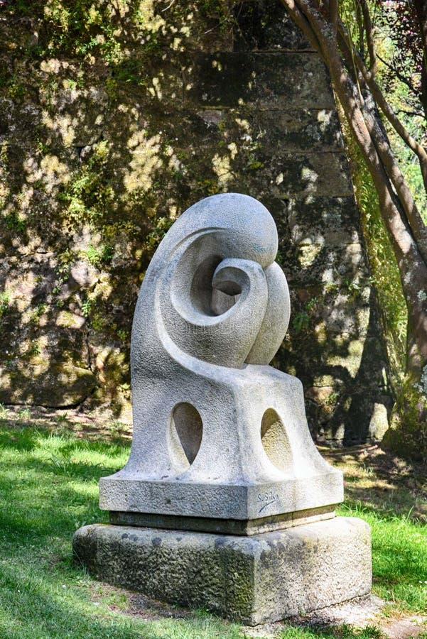 Monumento en Vigo Castro Park hermoso, España imagen de archivo
