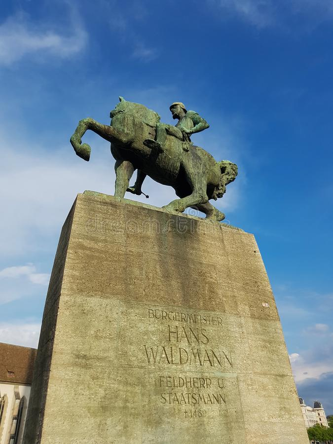 Monumento equestre a Hans Waldmann a Zurigo fotografia stock
