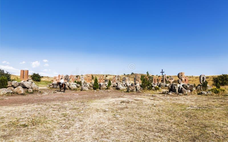 Monumento escultural do alfabeto arm?nio, foto de stock