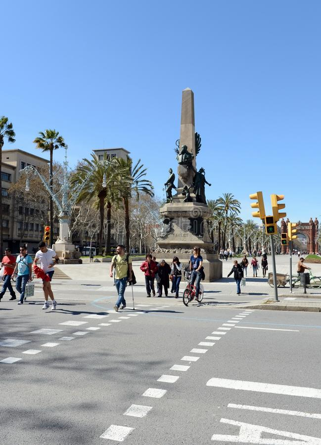 Monumento a Francesc Rious, o prefeito de Barcelona e o organizador principal da exposição 1888 de mundo fotografia de stock royalty free