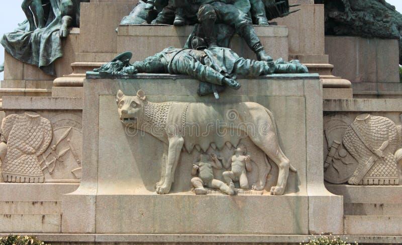 Monumento a Garibaldi in collina di Janiculum di Roma fotografie stock libere da diritti