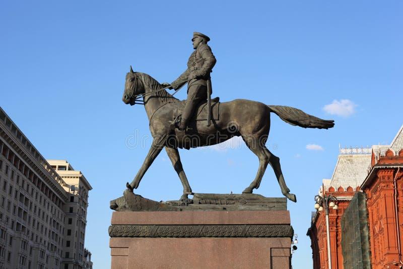 Monumento Georgy Zhukov no quadrado de Manege em Moscovo fotografia de stock royalty free