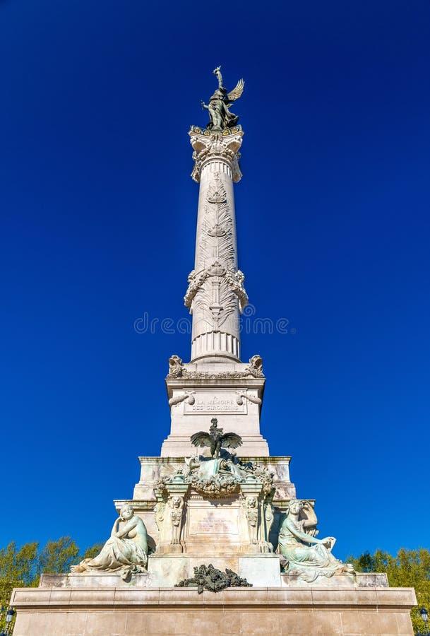 Monumento Girondins auxiliar no quadrado de Quinconces no Bordéus - França imagens de stock