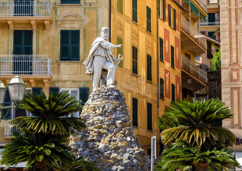 Monumento a Giuseppe Garibaldi, comandante italiano, revolucionário e político fotos de stock