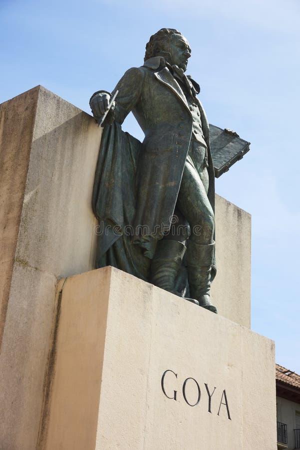 Monumento a Goya en Zaragoza, España foto de archivo libre de regalías