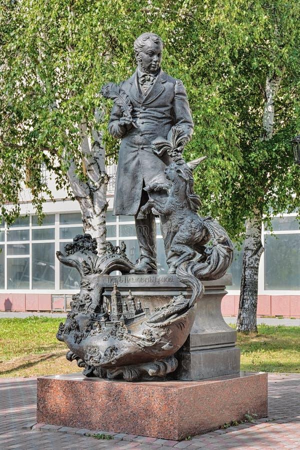 Monumento il poeta russo Pyotr Yershov in Tobol'sk, Russia fotografia stock libera da diritti