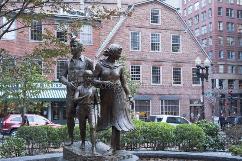 Monumento irlandés del hambre de Boston imagenes de archivo