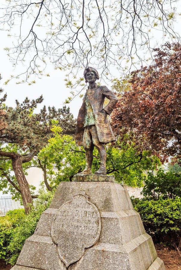 Monumento a Jean-Francois Lefevre de la Barre, monte de Montmartre, Paris, França fotos de stock