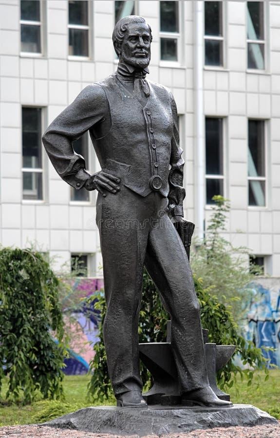 Monumento a John James Hughes em Donetsk, Ucrânia foto de stock royalty free