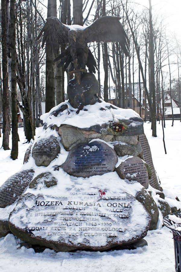 Monumento a Jozef Kurasia, tenente no exército polonês desde 1939, Zakopane, Polônia imagem de stock