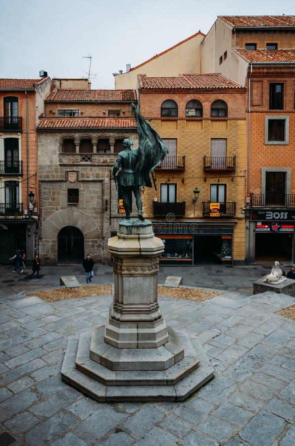 Monumento a Juan Bravo, capitão do comunero e combatentes por Castilla y Segovia no século XVI Retirado em imagens de stock