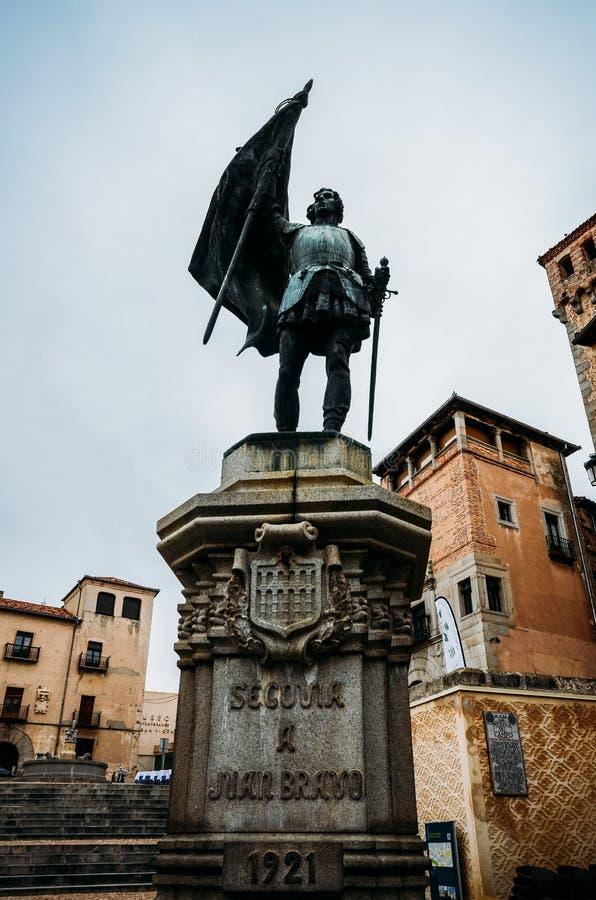 Monumento a Juan Bravo, capitão do comunero e combatentes por Castilla y Segovia no século XVI Retirado em fotos de stock
