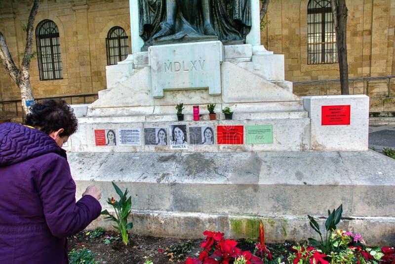 Monumento a la periodista asesinada Daphne Caruana Galizia, Malta fotografía de archivo libre de regalías