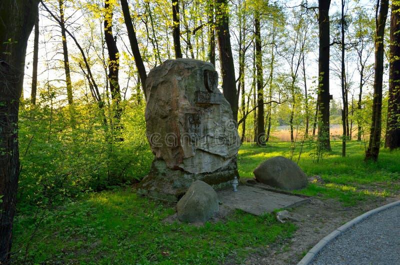 Monumento a las víctimas de la guerra en Pszczyna, Polonia imagen de archivo