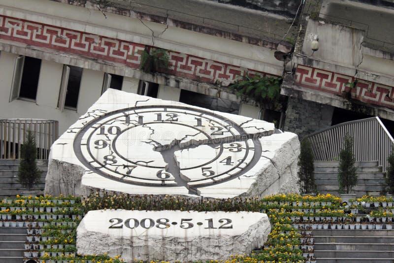 Monumento a las víctimas del terremoto de Sichuan en Yingxiu, China imagen de archivo libre de regalías