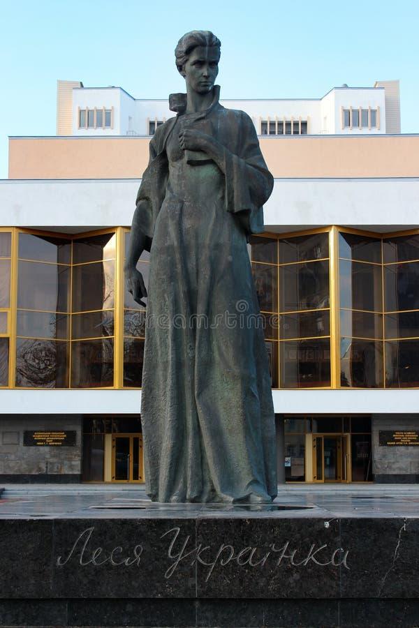 Monumento a Lesya Ukrainka em Lutsk, Ucrânia fotos de stock