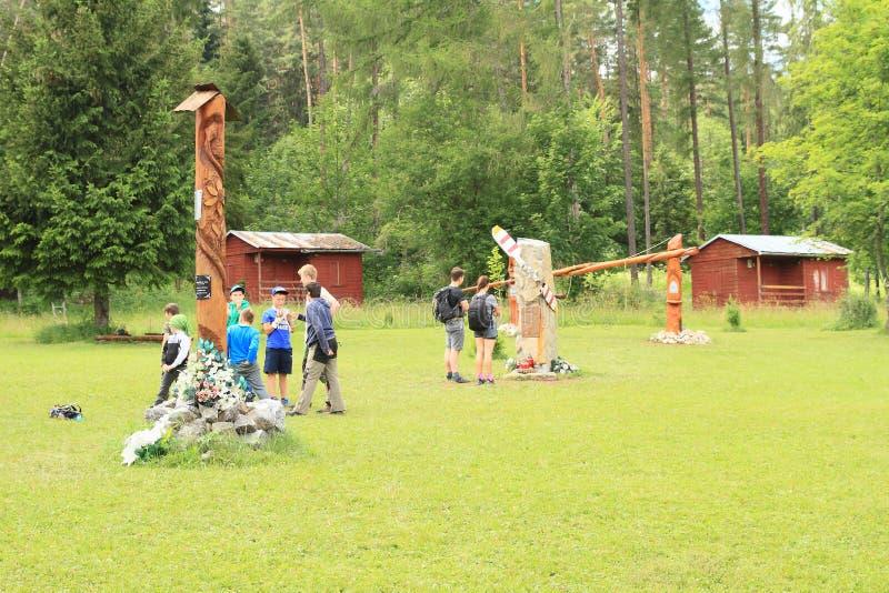 Monumento a los salvadores del helicóptero estrellado en el paraíso eslovaco, área del torisko del ¡del ¡Å de Klà foto de archivo libre de regalías