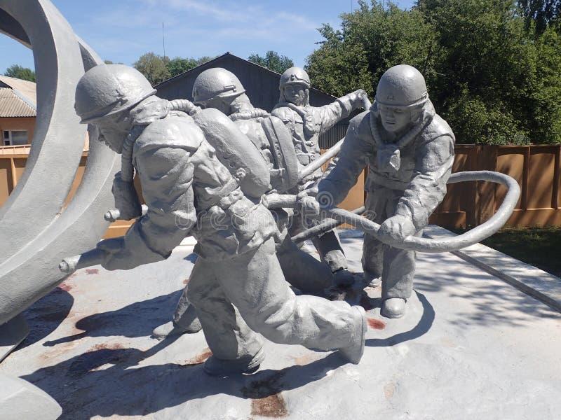 Monumento a los trabajadores de la emergencia, Chernóbil fotografía de archivo libre de regalías