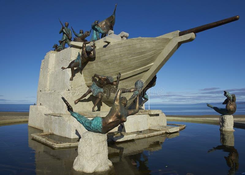Monumento marítimo, Punta Arenas, Chile fotos de archivo