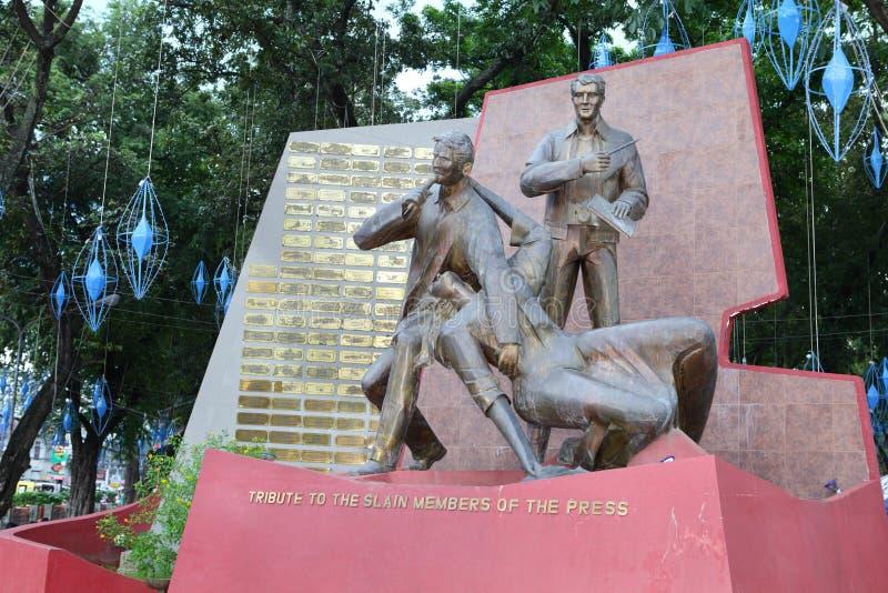 Monumento massacrado Filipinas dos journalistas imagens de stock