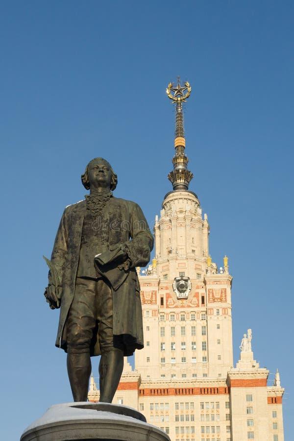 Monumento a Michael Lomonosov - el fundador de la universidad de Moscú foto de archivo libre de regalías
