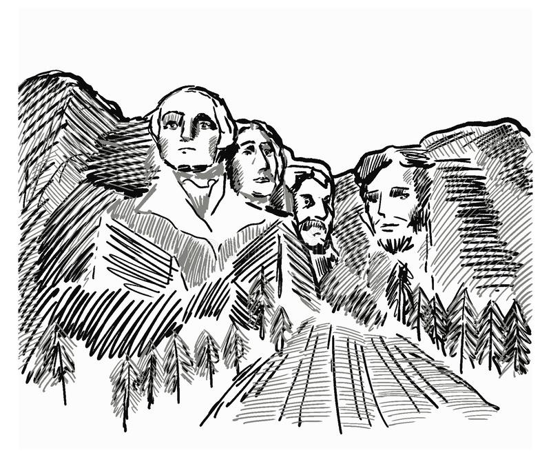 Monumento nacional del monte Rushmore con las esculturas de los presidentes del americano cuatro ilustración del vector