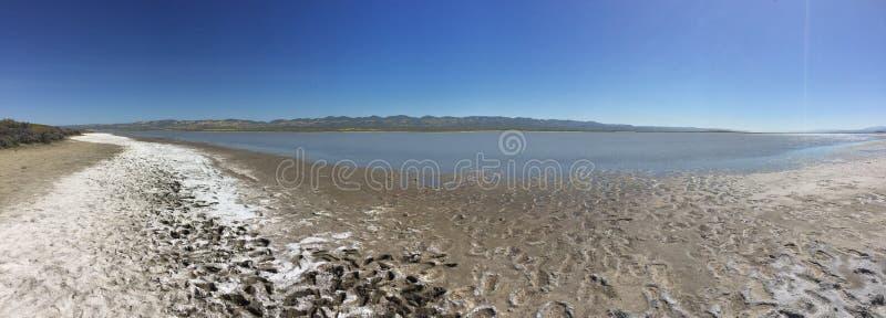 Monumento nazionale delle pianure di Carrizo panoramico, California - lago soda con acqua, fango e sale fotografia stock