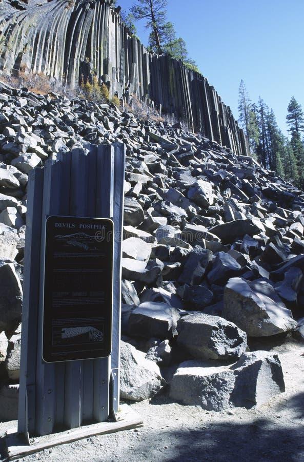 Monumento nazionale di Postpile dei diavoli in California fotografia stock libera da diritti