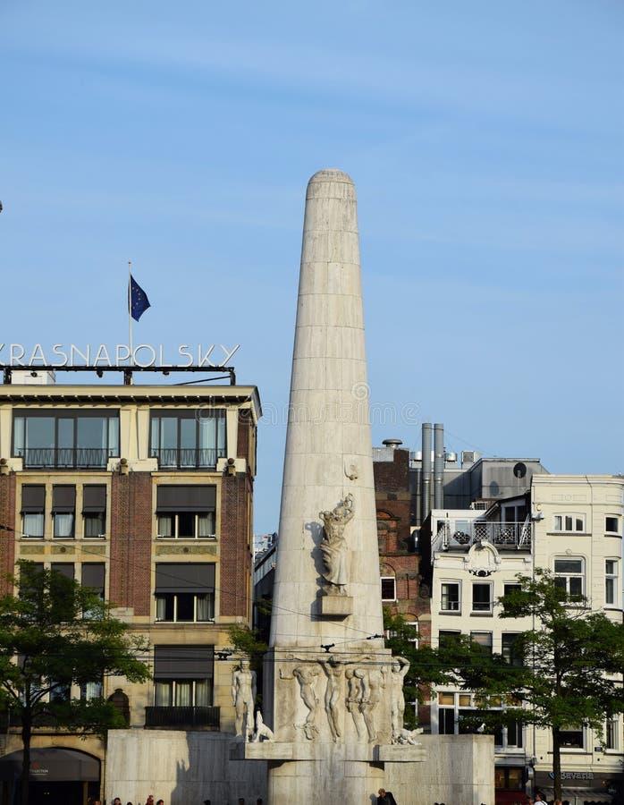 Monumento nazionale, diga, Amsterdam, Olanda, Paesi Bassi fotografie stock libere da diritti