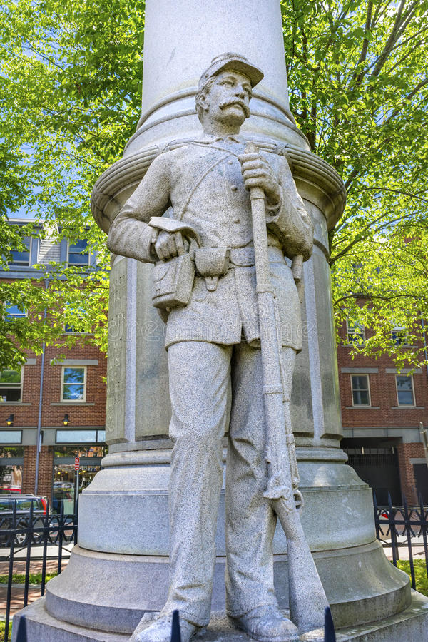 Monumento New Haven Connecticut de la guerra civil de Broadway del soldado de infantería imágenes de archivo libres de regalías