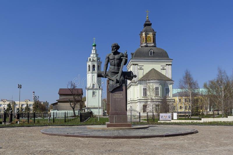 Monumento a Nikita Demidov, Tula, Rusia fotos de archivo